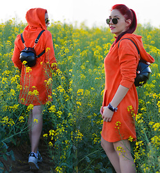 Adriana Delia Barar - Vipshop Dress - Orange Hoodie