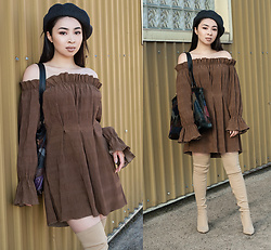 Ashley Trieu - Beret, Iconoclasp Sueded Prose Tunic, Leather Purse, Public Desire Over The Knee Boots - Sueded Prose Tunic