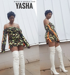 Yasha Aine - Yasha Keke Dress, Public Desire White Thigh High Boots - Angelsrbirdstoo
