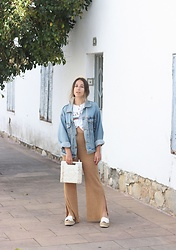 Claudia Villanueva - Vintage Jacket, Gucci T Shirt, Zara Pants, Zara Bag, Jeffrey Campbell Shoes - Look casual con pantalones de punto