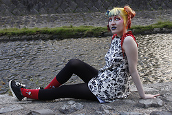 Lindwormmm - Punainen Norsu Mr Pike Dress, Moomin Little My Socks, Black Tights, Black Adidas Sneakers - At the downstream of Takano River