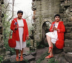 Ragini R - George Red Parka, Vintage Dress, Bando Amigo Circle Bag, Asos Red Strappy Sandal - 12th century chapel