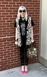 Shannon D - Chloé Vest, Vintage Whitesnake Tee, Prada Heels, Chanel Bag, Vintage Choker, Blank Nyc Black Leather Pants - Saturday Vibes