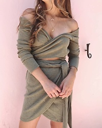 Fashion Sensored - Sabo Skirt Fern Wrap Dress - Fern Knit Wrap Dress