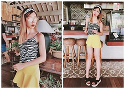 Yi chia Chang - Zara Black Rattan Sandals, Zara Yellow Asymmetric Skirt, Zebra Print Top, Bershka Yellow Sun Glasses, Blue Stripe And Pineapple Hair Band - Nook