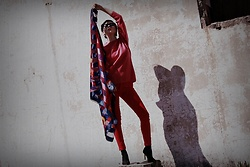 Ewa Macherowska - Second Hand Sweater, Mohito Pants, Mango Boots, Second Hand Scarf, Born 86' Sunglasses, Zaful Earrings - Power of Color