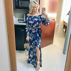 Kim Tuttle - New York And Company Maxi Dress, Sam Edelman Gladiator Sandals, Zac Posen Mini Eartha, Gucci Double G Belt - Wedding guest ootd
