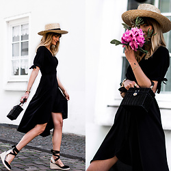 Catherine V. - H&M Straw Hat, Boohoo Wrap Dress, Zara Straw Bag, Pimkie Wedge Espadrilles - THE MOST FLATTERING LITTLE BLACK DRESS