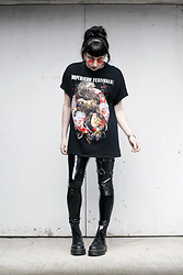 Amy Souter - Pull & Bear Black Pvc Trousers, Dr. Martens Dr Marten X Lazy Oaf Jungle Boots, Impericon Fest T Shirt, Ebay Red Tinted Round Sunglasses - IMPERICON