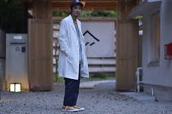 Hideki. Mn - Shoop Burning Cap, Roundabout Cotton Tanktop, Shoop Transformation Trench Coat, Shoop Nylon Cargo Pants, Pras Shellcap Color Low Gold - Japanese fashion 70