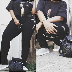 Natonya - Hot Topic Statement Tee, Jennifer Lopez Collection Jeggings, Forever 21 Quilted Mini Backpack Purse, American Eagle Outfitters Canvas Sneakers, Target Aviator Sunglasses - Semi-Blackout