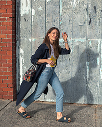 Jenelle Witty -  - NAVY TRENCH AND BIRKENSTOCKS