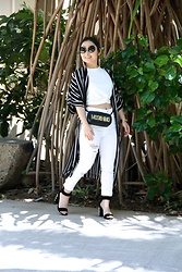 Kristen Tanabe - Shein White Twist Tee, Shein White Distressed Jeans, Shein Striped Kimono, Moschino Quilted Purse, Miu Sunglasses, Jeffrey Campbell Rhinestone Heels - Spring Stripes