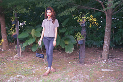 Shanaz AL - Thrifted Printed Collared Shirt, Local Boutique Faded Black Jeans, No Name Beaten Up Boat Shoes, Mom's Closet Vintage Sequin Bag - Secret Garden