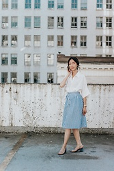 Gabby Chia - Romwe Button Up Blouse, American Apparal Clear Shoes, Romwe Striped Nautical Skirt - Rooftop