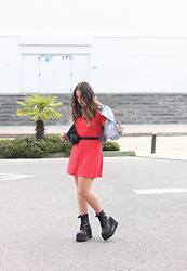 Claudia Villanueva - Zara Jacket, Pull & Bear Dress, Un Paso Mas Boots - Cropped Denim Jacket