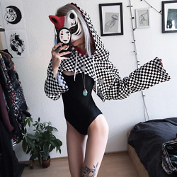 Kimi Peri - Choker, Monami Frost One Piece Swimsuit, Illustrated People Checkerboard Cropped Hoodie, Vintage Turquoise Stone Necklace, Solrayz Moonstone Necklace, H&M Ring, Gifted Kitsune Mask - Kitsune
