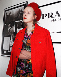 Noora Vesalainen - H&M Red Denim Jacket, H&M Beret, Zara Flower Dress - Flowerss
