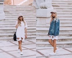 Dalena Daily - Dress, Jeans Jacket, Suede Hat, Converse, Bag - MADNESS