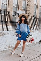 Laura Reynoso - Sugarlips Denim Dress, Zara Wedges, Furla Summer Bag - The denim dress