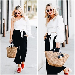 Zia Domic - Tobi White Shirt, Topshop Wide Leg Pants, Plv Red Mules - Crisp White Shirt