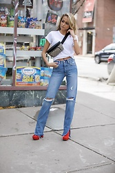 Lauren Recchia - Rag & Bone Tee, Gucci Belt Bag, Grlfrnd Denim Jeans, Prada Red Boots - Hello Denim