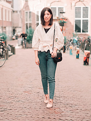 Vivian Tse - Zara Wrap Blouse, Céline Bag, Zara Jeans, Orelia Necklace, Sacha Derby Shoes - Linen love