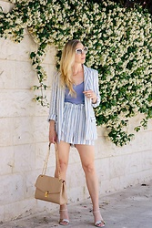 Meagan Brandon - Striped Blazer, Similar Tank, Striped Shorts, Gucci Sandals - Seeing Double