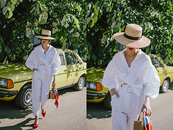 Andreea Birsan - Straw Boater Hat, White Balloon Sleeve Shirt, White High Waisted Trousers, Red Slingback Shoes, Basket Bag, Scarf, Earrings - All white