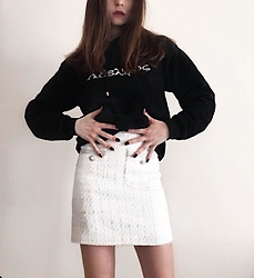 "Leda Spyropoulou - Pressure Clothing Black Hoodie, Zara Cream Tweed Skirt, Silver Knot Ring - It's greek for ""Bro"",bro"