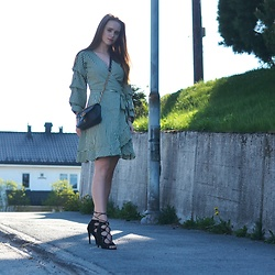 Ida - Vila Dress, Missguided Heels, Gucci Bag - Something green