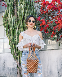 Elizabeth Lee (Stylewich) - Modern Weaving Moon Dancer Earrings, Bailey 44 Polka Dot Top, Levi's Wedgie Straight Jeans Mass Destruction, Staud Moreau Bucket Bag - Dots