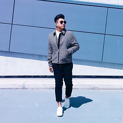 ALLEN M - H&M Checkered Jacket, H&M Mock Neck Sweater, H&M Cropped Drawstring Trousers, Asics Rubber Shoes - SPRING // IG:@iamALLENation