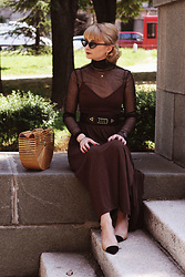 Ana Vukosavljevic - H&M Dress, Vintage Belt, Shoes Of Prey, Cult Gaia Bag, Gucci Sunglasses, H&M Necklaces - How To Style A Slip Dress?