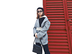 JUN UDAN - Urban Outfitters Barret, Monki Crop Top, Zara Checked Blazer, Thrift Store Plaids Belts, Forever 21 High Knee Boots, H&M Shades, Zara Bag - RED DOOR