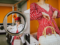 Andreea Birsan - Gingham Bodycon Dress, Straw Bag, White Oversize Denim Jacket, Red Bakerboy Hat, Mini Cat Eye Sunglasses - The casual way to wear a bodycon dress