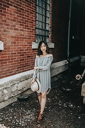 Gabby Chia - Gentle Fawn Striped Off The Shoulder Dress, Qupid Keyhole Boots, Sunhat - Find Me & Follow Me