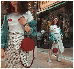 Theoni Argyropoulou - Pull & Bear Polka Dot Skirt, Bershka Cherry Top, Denim Jacket, Zaful Round Bag, Adidas Sneakers - 3 Ideas on how to wear the polka dot trend on somethingvogue