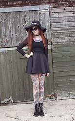 Rachel - River Island Fedora, Ebay Choker, Miss Captain Black Mesh Top, Ebay Brace Skirt, Sonnena Combat Boots, Unif Moody Shades - Incognito