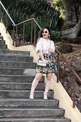 Kristen Tanabe - 1.State Striped Button Down Blouse, Free Press Floral Skirt, Prada Heels, Sondra Roberts Light Olive Crossbody Purse, Miu Light Olive Sunglasses, Tildon Statement Earrings - Spring in My Step