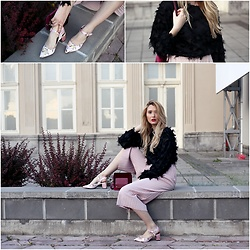 Sofija Surdilovic - Zara Flower Emodied Shoes, Shein Black Top, Shein Baby Pink Pants - Dramatic