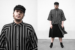 Wyatt Morgan - Weekday Hat, Monki Striped Dress, Asos Faux Leather Skirt, Fila Socks Sneaker - 18 05