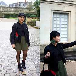 Raiza Vasquez - Obey Beret, Rachel Roy Jean Jacket, American Apparel Corduroy Skirt - Always the museum