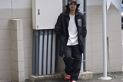 Hideki. Mn - Hatae Leather Hat, Syu.Homme/Femm Big Paraffin Shirts Coat, Roundabout Crew Neck Long T Shirts, Syu.Homme/Femm New Skater Pants Wide, Nike Airrift - Japanese fashion 74