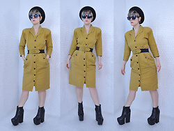 Suzi West - Jacobson Wool Beret, Ebay Sunglasses, Wild Dress Vintage 1990s, Jeffrey Campbell Shoes Kane Boots - 14 November 2017