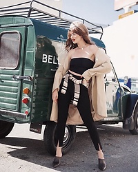 Ms. Morgan Ryan - Beret, Urban Outfitters Tube Top, Missguided Cig Pant, Free People Mules - B E L L E  V I E