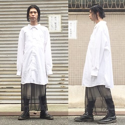 @KiD - Vintage Oversized Shirts, Lawry's Farm Skirt, Proudrace Skirt, Dr. Martens 10 Hole - JapaneseTrash388