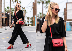 Sunnyinga - & Other Stories Sunglasses, Na Kd Jumpsuit, Na Kd Mules, Zara Bag - Black Jumpsuit x Red Mules