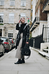 Elizabeth Claire - Whowhatwear Patent Leather Trench Coat, Whowhatwear Zip Jumper, Mango Plaid High Waist Trousers, Target Black Ring Bag, Asos Black Chelsea Boots - Poser