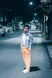 Dynne Manzanilla - Thrift Denimlab, Track Pants, Thrift White Semi Turtle Neck Long Sleeves, New Balance - Get your Streetwear